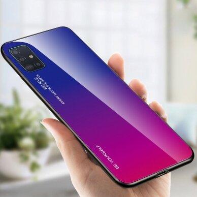 """GRŪDINTO STIKLO DĖKLAS NUGARĖLĖ """"GRADIENT GLASS DURABLE"""" Samsung Galaxy A51 rožinis-violetinis UCS025 3"""