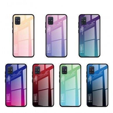 """GRŪDINTO STIKLO DĖKLAS NUGARĖLĖ """"GRADIENT GLASS DURABLE"""" Samsung Galaxy A51 rožinis-violetinis UCS025 5"""