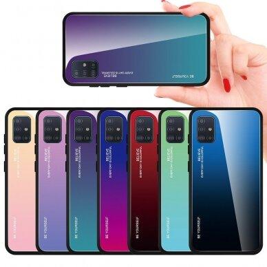 """GRŪDINTO STIKLO DĖKLAS NUGARĖLĖ """"GRADIENT GLASS DURABLE"""" Samsung Galaxy A51 rožinis-violetinis UCS025 6"""