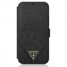 Originalus atverčiamas Guess dėklas Guflbkp12Mvsatmlbk Iphone 12/12 Pro juodas Saffiano