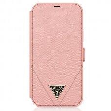 Originalus atverčiamas Guess dėklas Guflbkp12Mvsatmlpi Iphone 12/12 Pro rožinis Saffiano
