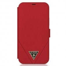 Originalus atverčiamas Guess dėklas Guflbkp12Mvsatmlre Iphone 12/12 Pro raudonas Saffiano
