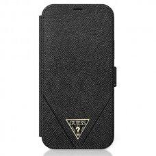 """Originalus Guess Atverčiamas  Dėklas Guflbkp12Svsatmlbk Iphone 12 Mini 5,4"""" Juodas Saffiano"""
