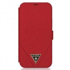 """Originalus Guess Atverčiamas Dėklas Guflbkp12Svsatmlre Iphone 12 Mini 5,4"""" Raudonas Saffiano"""