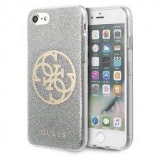 Guess GUHCI8PCUGLLG iPhone 7/8/SE 2020 jasnoszary/light grey hard case Glitter 4G Circle Logo UCS062