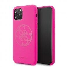 ORIGINALUS GUESS DĖKLAS GUHCN58LS4GFU iPhone 11 Pro fuksija hard case Silicone 4G Tone On Tone (ctz009)