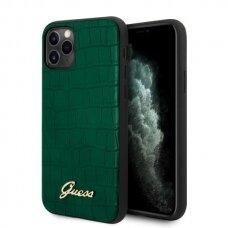 Originalus Guess Dėklas Guhcn58Pcumlcrdg Iphone 11 Pro Tamsiai Žalias Croco Collection