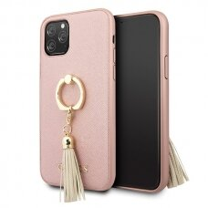 Originalus dėklas Guess GUHCN58RSSARG iPhone 11 Pro rožinis Saffiano su žiedu USC057
