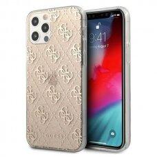 """Originalus Guess dėklas GUHCP12MPCU4GLGO iPhone 12/12 Pro 6,1"""" auksinis 4G Glitter"""