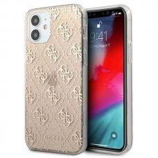 """Originalus Guess dėklas GUHCP12SPCU4GLGO iPhone 12 mini 5,4"""" auksinis 4G Glitter"""