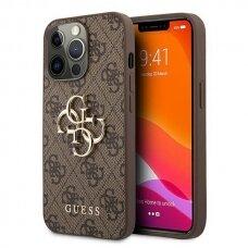 "Originalus Guess dėklas GUHCP13L4GMGBR iPhone 13 Pro / 13 6,1"" Rudas 4G Big Metal Logo"