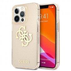 "Originalus Guess dėklas GUHCP13LPCUGL4GGO iPhone 13 Pro / 13 6,1""  Auksinis Glitter 4G Big Logo"