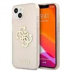 "Originalus Guess dėklas GUHCP13SPCUGL4GGO iPhone 13 mini 5,4"" Auksinis Glitter 4G Big Logo"
