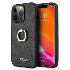 """Originalus Guess dėklas GUHCP13X4GMRGR iPhone 13 Pro Max 6,7"""" Pilkas 4G with ring stand"""