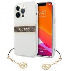 "Originalus Guess dėklas GUHCP13XKB4GBR iPhone 13 Pro Max 6,7"" Permatomas 4G Brown Strap Charm"