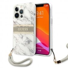 "Originalus Guess dėklas GUHCP13XKMABGR iPhone 13 Pro Max 6,7"" Pilkas Marble Strap Collection"