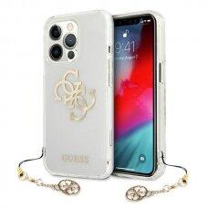 "Originalus Guess dėklas GUHCP13XKS4GGO iPhone 13 Pro Max 6,7"" Permatomas 4G Gold Charms Collection"