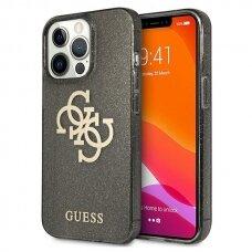 "Originalus Guess dėklas GUHCP13XPCUGL4GBK iPhone 13 Pro Max 6,7"" Juodas Glitter 4G Big Logo"