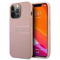 """Originalus Guess dėklas GUHCP13XPSASBPI iPhone 13 Pro Max 6,7"""" Rožinis Saffiano Stripe"""