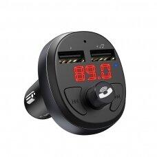 Hoco E41 Bluetooth MP3 grotuvas/FM bangų moduliatorius (laisvų rankų įranga, microSD, SD, 2xUSB, LCD, 3.1A įkroviklis)