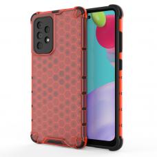 Dėklas Honeycomb Case armor cover with TPU Samsung Galaxy A52 5G / A52 4G Raudonas
