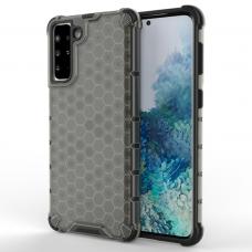 Plastikinis dėklas Honeycomb Case Samsung Galaxy S21+ 5G (S21 Plus 5G) Juodas