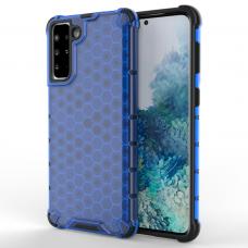 Plastikinis dėklas Honeycomb Case  Samsung Galaxy S21+ 5G (S21 Plus 5G) Tamsiai mėlynas