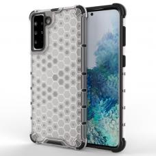 Plastikinis dėklas Honeycomb Case Samsung Galaxy S21+ 5G (S21 Plus 5G) Skaidrus