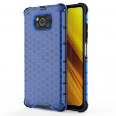 Plastikinis dėklas Honeycomb Xiaomi Poco X3 Nfc Mėlynas