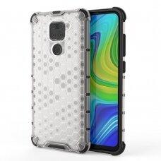 Honeycomb Case Armor Dėklas Sutvirtintais Tpu Kraštais Xiaomi Redmi 10X 4G / Xiaomi Redmi Note 9 Skaidrus