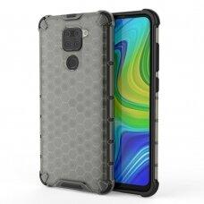 Honeycomb Case Armor Dėklas Sutvirtintais Tpu Kraštais Xiaomi Redmi 10X 4G / Xiaomi Redmi Note 9 Juodas