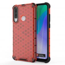 Honeycomb Case dėklas sutvirtintais TPU kraštais Huawei Y6p raudonas