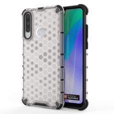 Honeycomb Case dėklas sutvirtintais TPU kraštais Huawei Y6p skaidrus