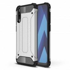 """Tvirtas Apsauginis Dėklas Iš Tpu Ir Pc Plastiko """"Hybrid Armor Rugged"""" Samsung Galaxy A50 Sidabrinis"""