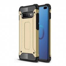 """Tvirtas Apsauginis Dėklas Iš Tpu Ir Pc Plastiko """"Hybrid Armor Rugged"""" Samsung Galaxy S10 Plus Auksinis"""