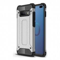 """Tvirtas Apsauginis Dėklas Iš Tpu Ir Pc Plastiko """"Hybrid Armor Rugged"""" Samsung Galaxy S10 Plus Sidabrinis"""