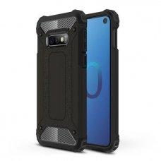 """Tvirtas Apsauginis Dėklas Iš Tpu Ir Pc Plastiko """"Hybrid Armor Rugged"""" Samsung Galaxy S10E Juodas"""
