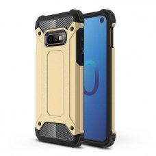 """Tvirtas Apsauginis Dėklas Iš Tpu Ir Pc Plastiko """"Hybrid Armor Rugged"""" Samsung Galaxy S10E Auksinis"""