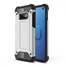 """Tvirtas Apsauginis Dėklas Iš Tpu Ir Pc Plastiko """"Hybrid Armor Rugged"""" Samsung Galaxy S10E Sidabrinis"""