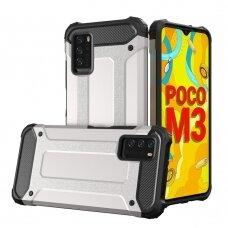 Dėklas Hybrid Armor Case Tough  Xiaomi Poco M3 / Xiaomi Redmi 9T Sidabrinis