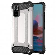 Dėklas Hybrid Armor Case Tough Xiaomi Redmi Note 10 / Redmi Note 10S Sidabrinis