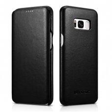 Odinis dėklas iCarer Leather Folio genuine leather Samsung Galaxy S8 Juodas (RS99002-BK)