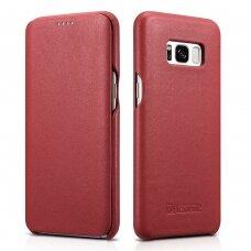 Odinis dėklas iCarer Leather Folio genuine leather Samsung Galaxy S8 Raudonas (RS99002-RD)