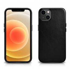 Natūralios odos dėklas iCarer Leather Oil Wax iPhone 13 mini Juodas (WMI1301-BK)