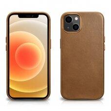 Natūralios odos dėklas iCarer Leather Oil Wax iPhone 13 mini Rudas (WMI1301-BN)