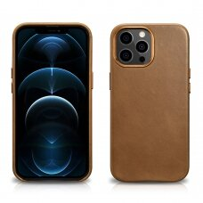 iCarer Leather Oil Wax iPhone 13 Pro Max Šviesiai rudas (MagSafe compatible) (WMI1304-BN)