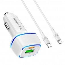 Įkroviklis automobilinis Borofone BZ14A PD20W+QC3.0 su 2 USB jungtimis (Type-C to Lightning) baltas