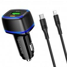 Įkroviklis automobilinis Borofone BZ14A PD20W+QC3.0 su 2 USB jungtimis (Type-C to Lightning) juodas