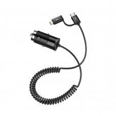 Įkroviklis automobilinis Devia Flash Type-C + Lightning (2.4A) juodas