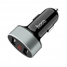 Įkroviklis automobilinis Hoco Z26 su 2 USB jungtimis (2.1A) su led ekranu juodas